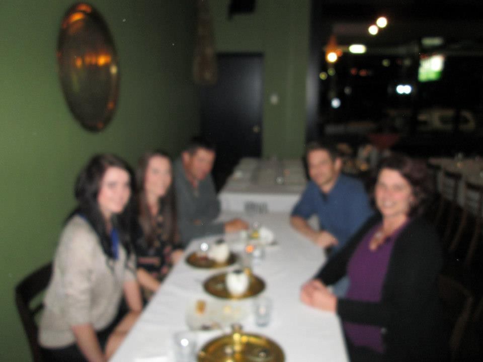 Blurry dinner photo. Not the dinner I contributed to.