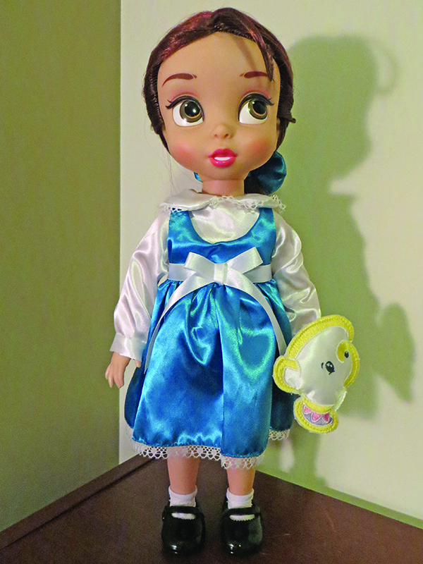 16″ in height, she comes complete with her sidekick, Chip